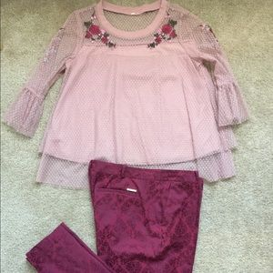 Michael Kors red pants with fun lace top set